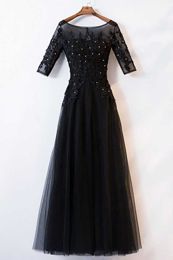 Black Beaded Lace Long Aline Formal Dress With Illusion Neckline
