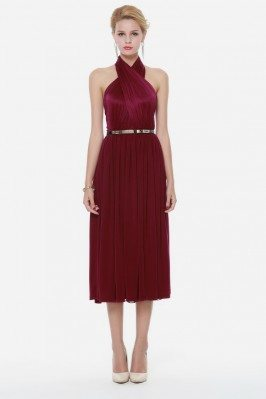 Burgundy Short Halter Party Dress Backless