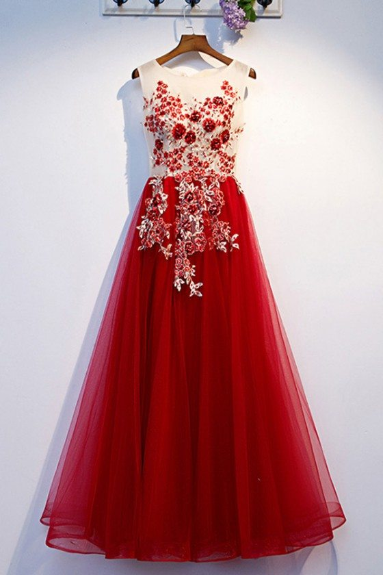 Aline Burgundy Long Tulle Prom Dress With Beaded Flowers