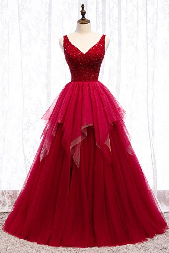 Ballgown Ruffles Burgundy Tulle Prom Dress With Vneck