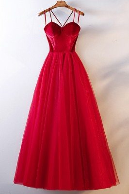 Simple Long Red Corset Back...
