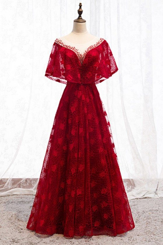 Formal Long Red Lace Burgundy Dress With Cape