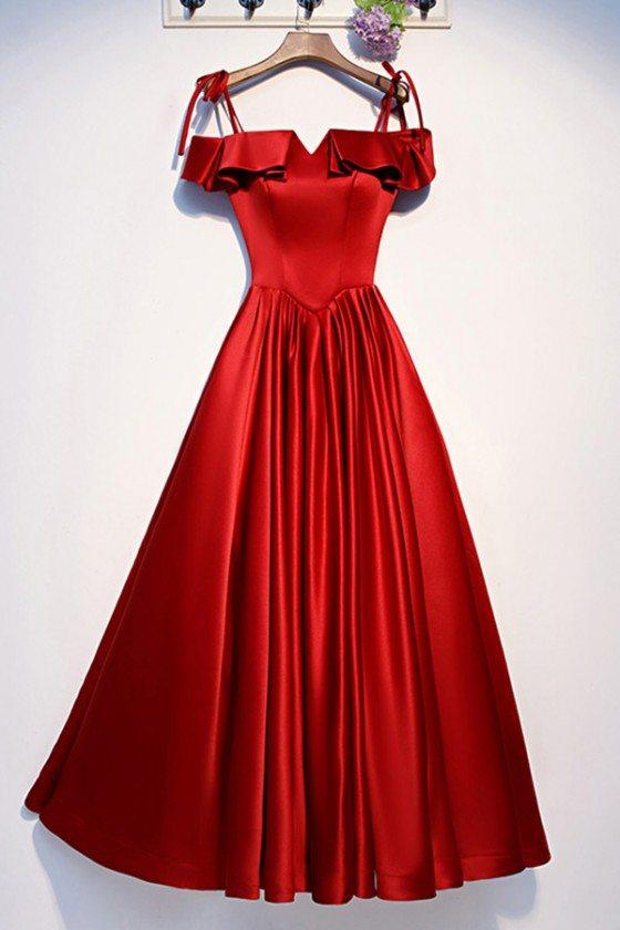 Cute Ruffles Burgundy Satin Aline Prom Dress With Straps