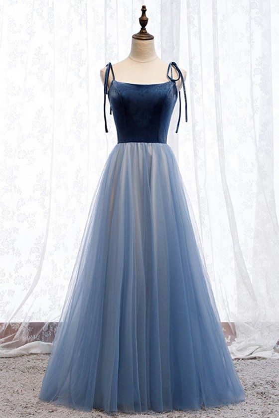 Aline Blue Tulle Prom Party Dress With Straps