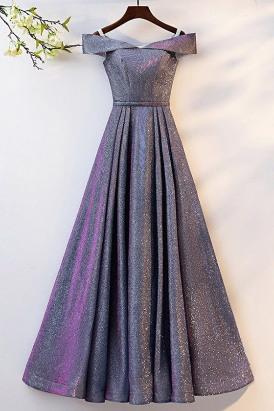 Ombre Blue Purple Long Aline Prom Dress With Off Shoulder