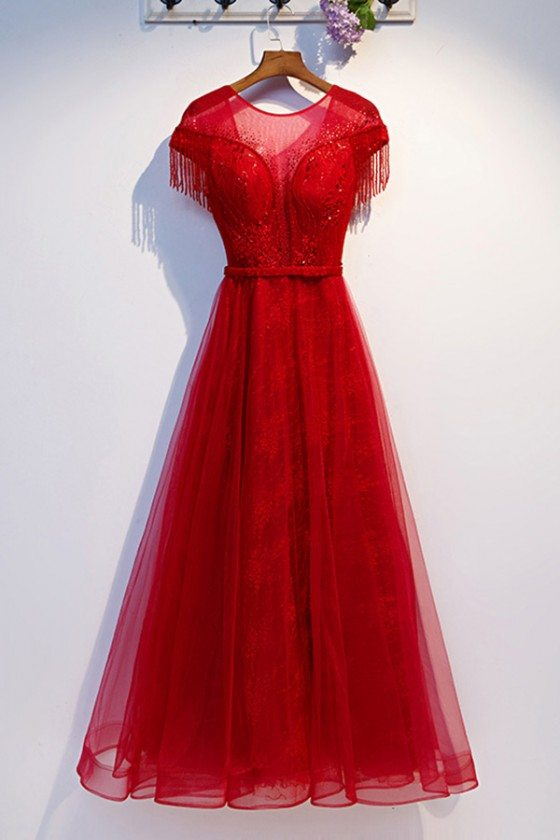 Aline Long Red Tulle Flowy Prom Dress With Sheer Neckline