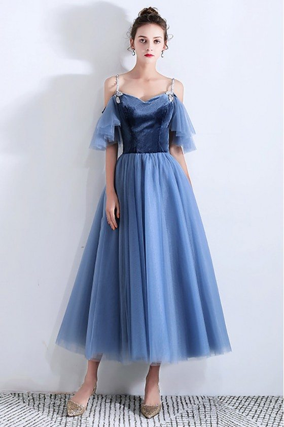 Elegant Blue Tulle Tea Length Party Dress With Removable Sleeves