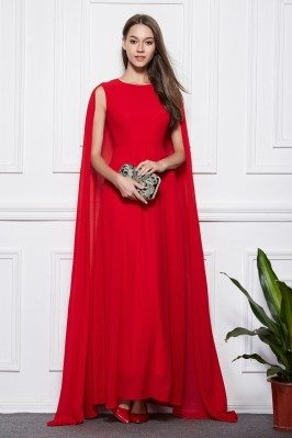 Designer Cape Style Long Ball Dress