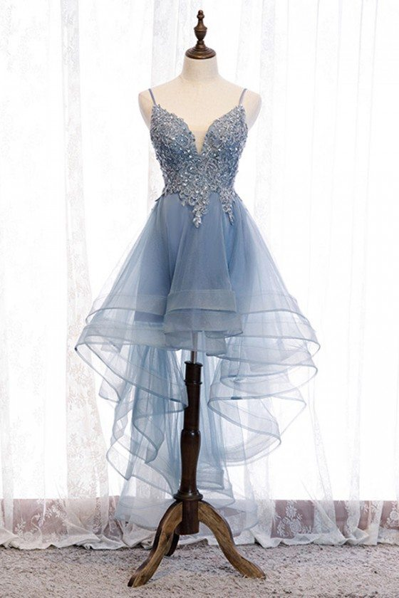 Blue Ruffles High Low Prom Dress With Sequined Lace