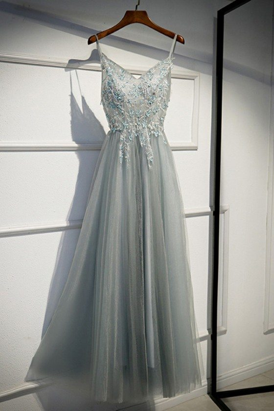 Special Grey Tulle Long Prom Dress Aline With Straps