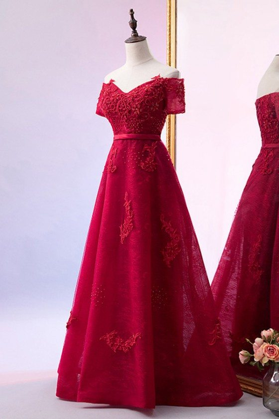 Burgundy Beaded Lace Long Aline Prom Dress With Off Shoulder
