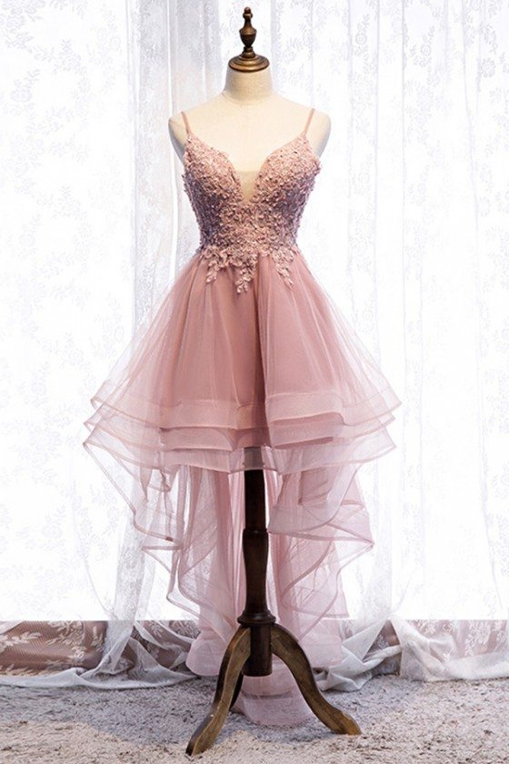 Sequined Lace High Low Pink Prom Dress With Ruffles Straps