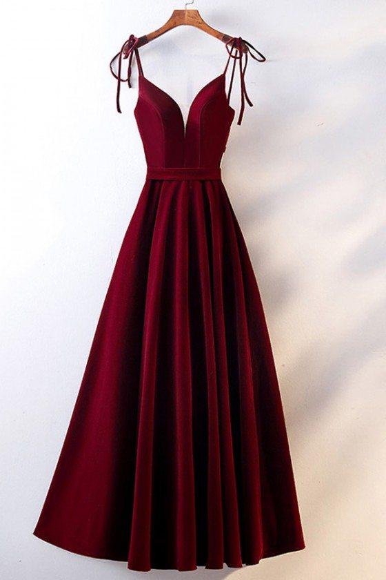 Formal Party Burgundy Long Velvet Dress Vneck With Straps