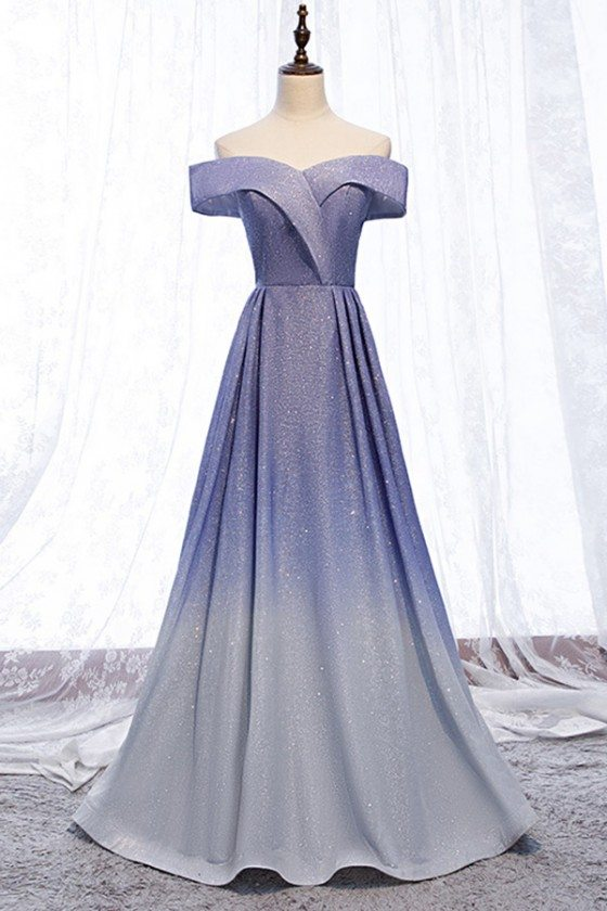 Mistery Purple Blue Shinning Ombre Prom Dress Off Shoulder