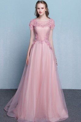 Rose Pink Beaded Sheer Neck...