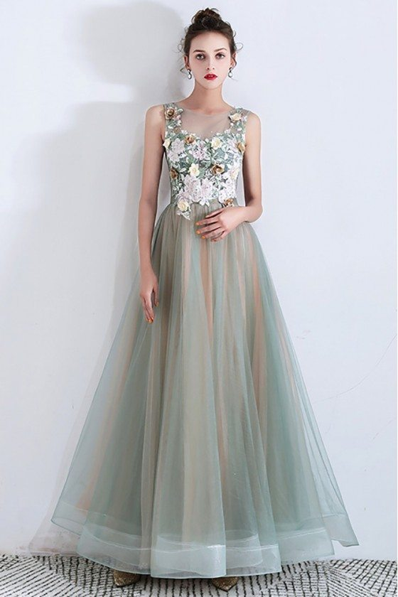 Green Tulle Long Prom Dress With Handmade Flowers