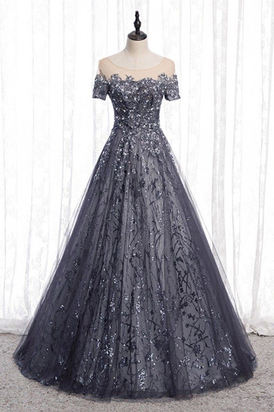 Grey Tulle Sparkly Sequins Long Formal Dress With Short Sleeves