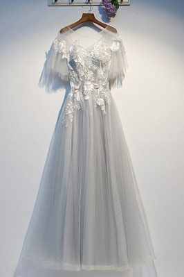 Flowy Long Tulle Grey Aline...