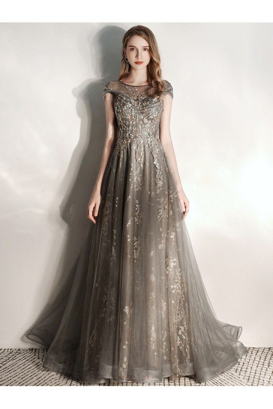 Formal Long Grey Tulle Modest Prom Dress With Cap Sleeves Metallic Sequins