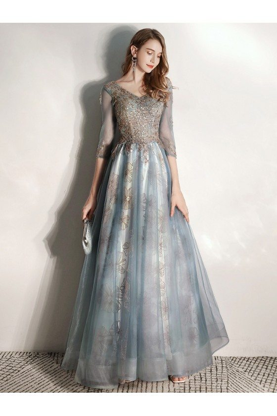 Elegant Dusty Blue Vneck Prom Dress With Half Sleeves Embroidery