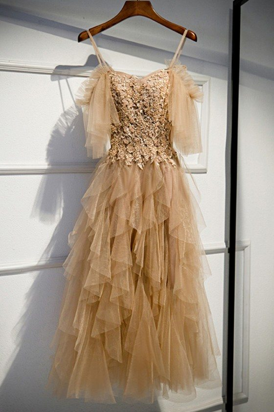 Long Formal Beaded Lace Ruffles Party Dress With Straps