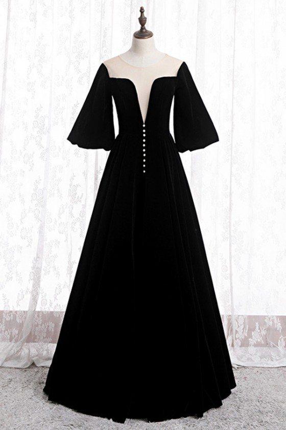 Black Velvet Formal Long Evening Dress Retro With Puffy Sleeves