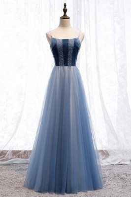 Blue Tulle Long Aline Prom...