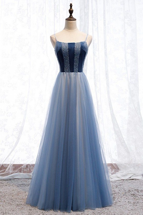 Blue Tulle Long Aline Prom Dress With Spaghetti Straps
