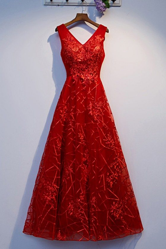 Burgundy Long Red Prom Dress Vneck With Lace