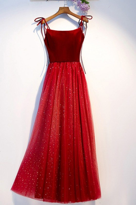 Simple Two Tone Red Tulle Long Party Dress With Straps
