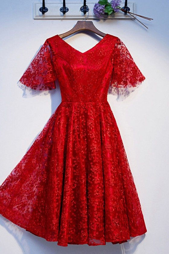Red Lace Aline Short Party Dress With Puffy Sleeves