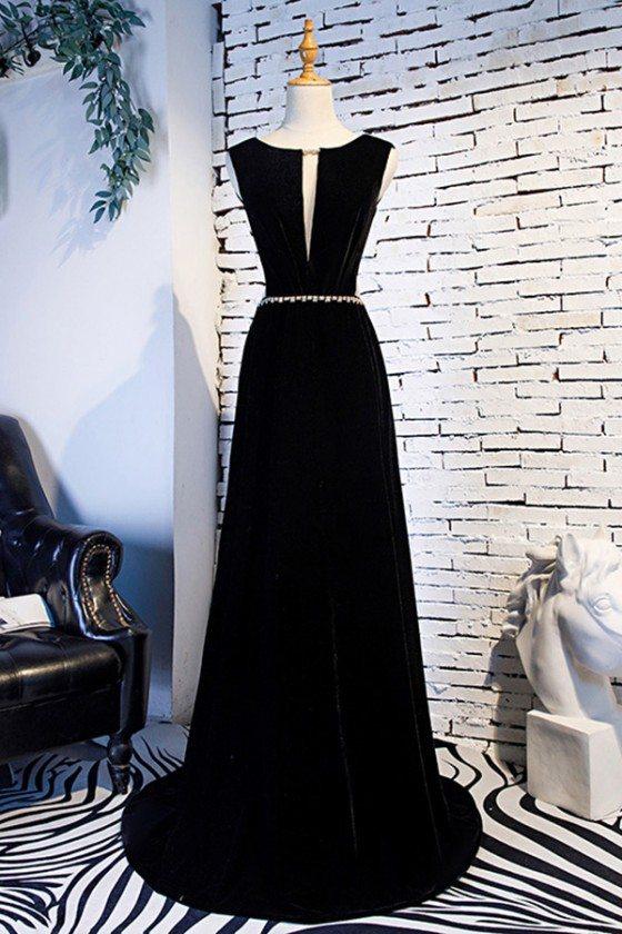 Formal Long Black Evening Dress Beaded Waist With Train