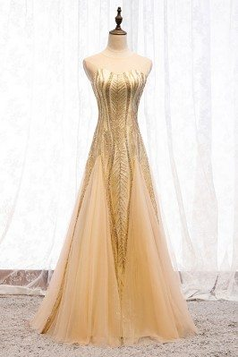 Sparkly Long Gold Tulle...