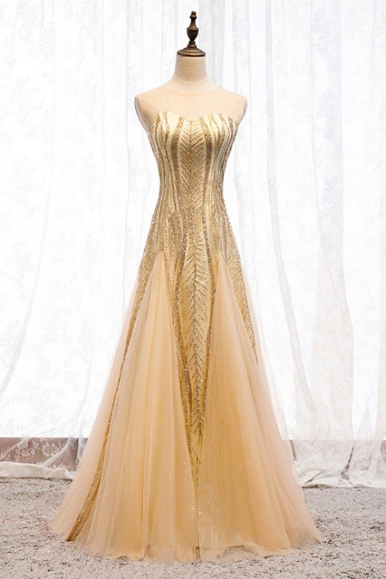Sparkly Long Gold Tulle Prom Dress With Keyhold Back
