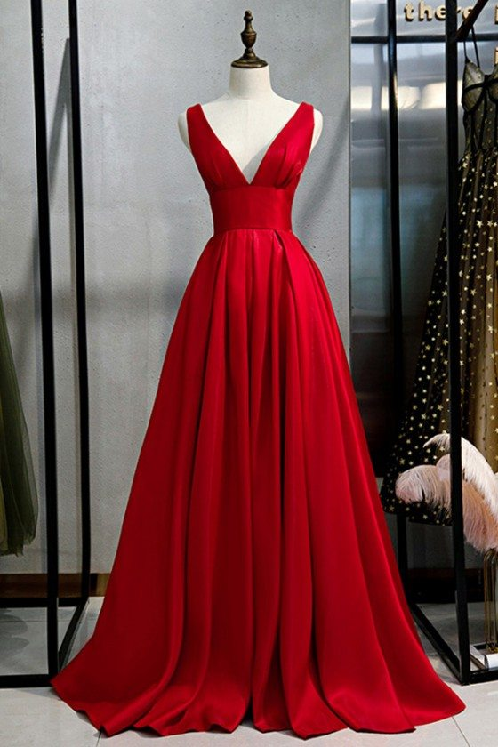 Classy Long Red Deep Vneck Prom Dress With Pleated Skirt