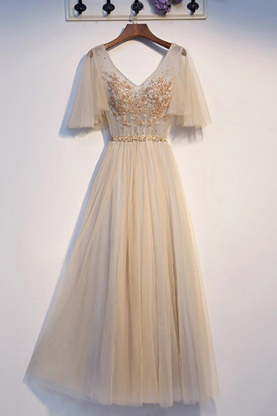 Long Tulle Light Champagne Aline Prom Dress With Tulle Sleeves