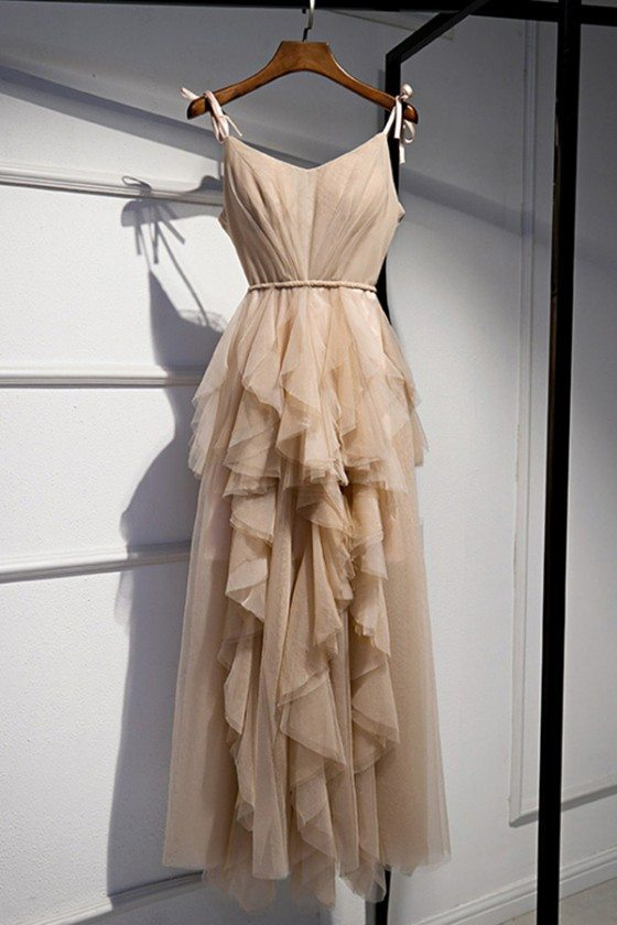 Champagne Long Tulle Special Occasion Dress With Ruffles