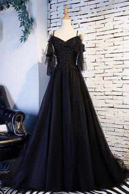 Beaded Lace Long Black...
