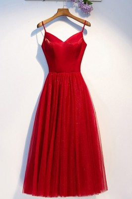 Red Tulle Aline Simple...