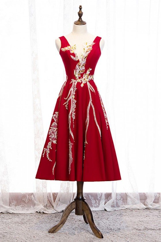 Unique Embroidery Pattern Tea Length Party Dress For Formal