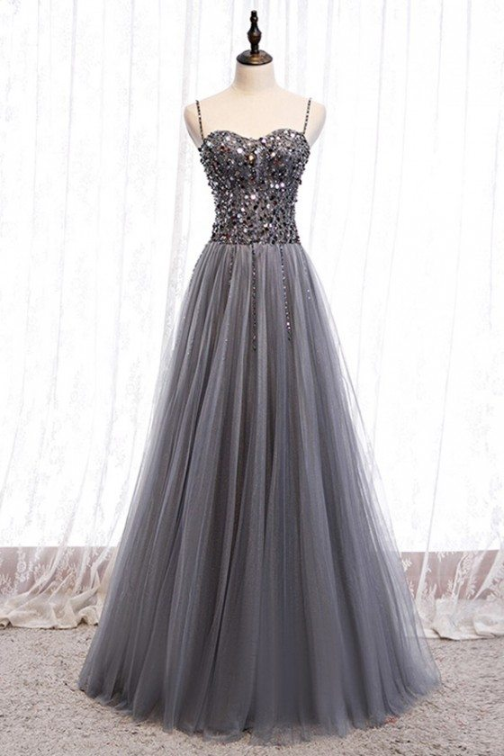Flowy Grey Tulle Long Prom Dress With Sequins Straps