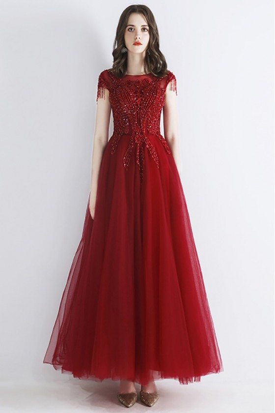 Burgundy Aline Long Tulle Red Prom Dress With Beaded Lace