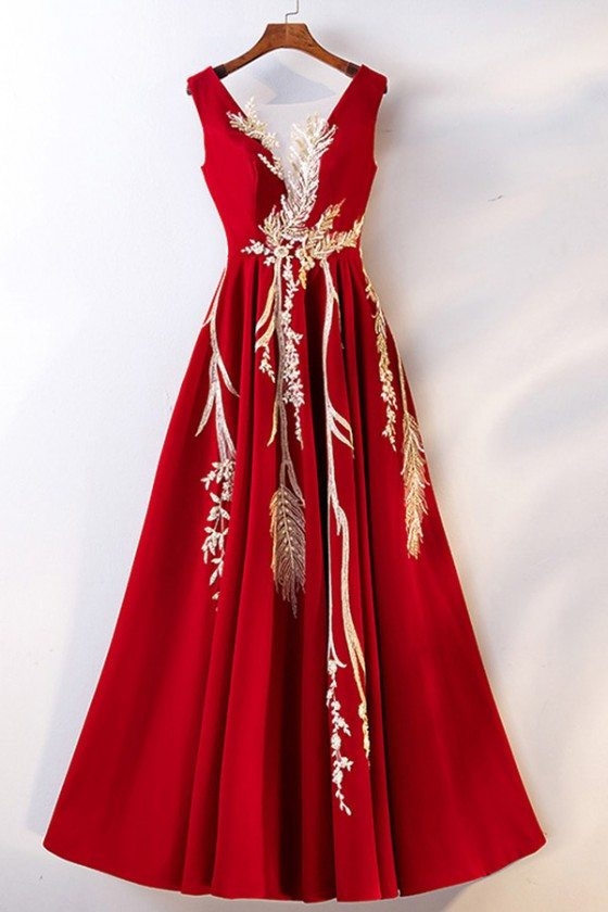 Burgundy Red With Gold Formal Long Dress With Embroidery