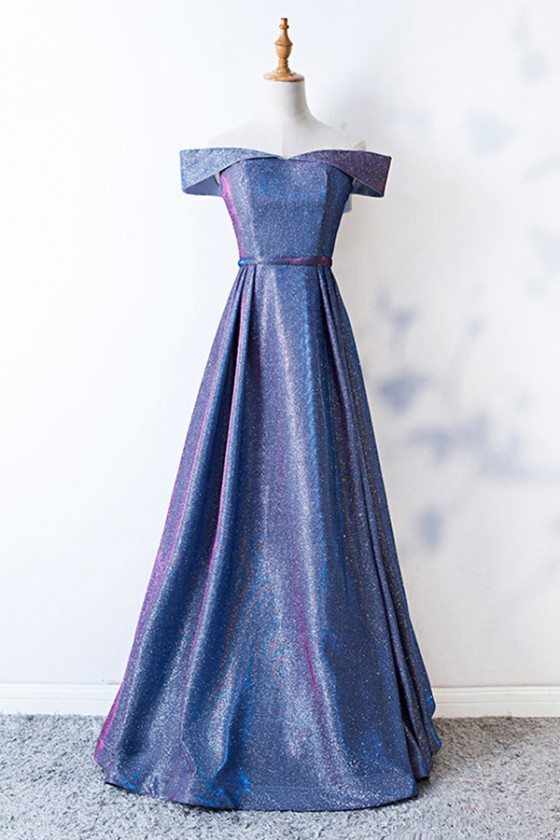 Off Shoulder Blue Aline Party Dress With Metallic Materials