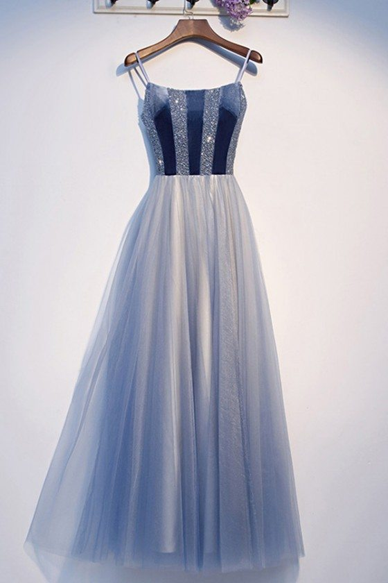 Blue Sequins Top Tulle Aline Prom Dress With Straps