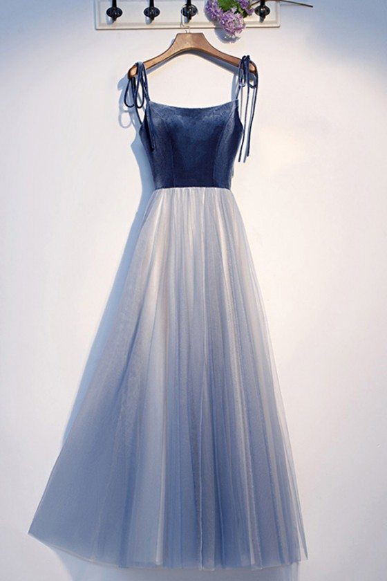 Blue Tulle Long Prom Dress With Straps