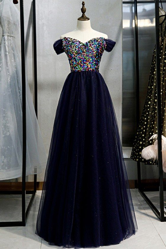 Blue Tulle Long Prom Dress Off Shoulder With Colorful Sequins