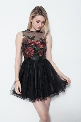 Sequin Little Black Short Party Dress
