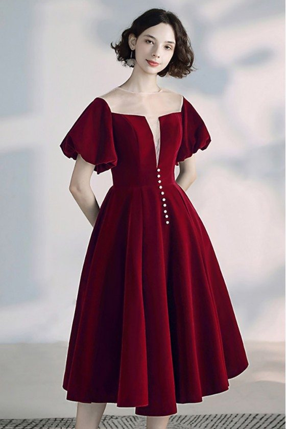 Vintage French Bubble Sleeve Party Dress Tea Length With Square Neckline