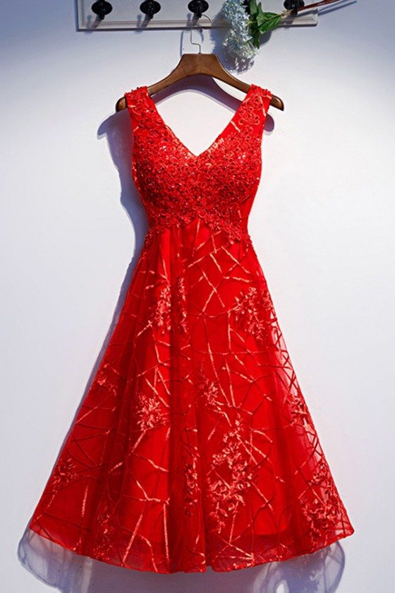 Special Lace Red Tea Length Party Dress With Vneck